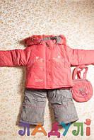Зимний комбинезон (штаны-полукомбинезон и курточка) с сумочкой на девочку 1-2 года