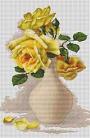 """Набор для вышивания крестом """"Luca-s"""" B508 Желтые розы в вазе"""