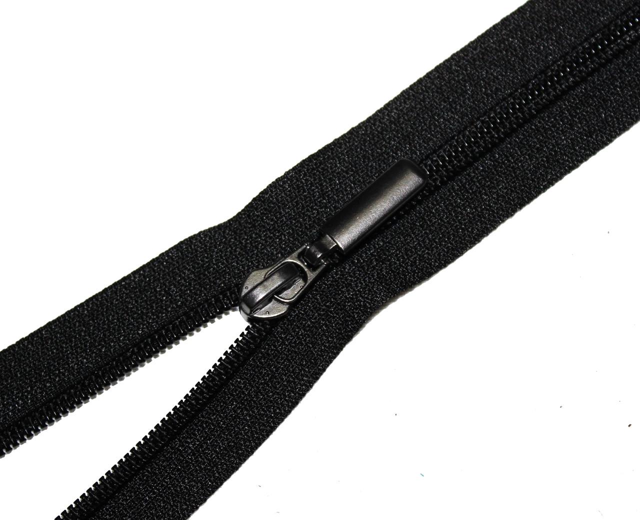 Застежка-молния обувная с усиленным бегунком (Тип 7) 60см., черная