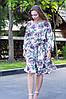 Платье летнее приталенное средней материал софт размер универсальный синие цветы на белом, фото 3