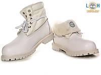Зимние ботинки женские Timberland Roll Top (тимберленд, тимберленды), ботинки тимберленд ролл топ белые, тимбы
