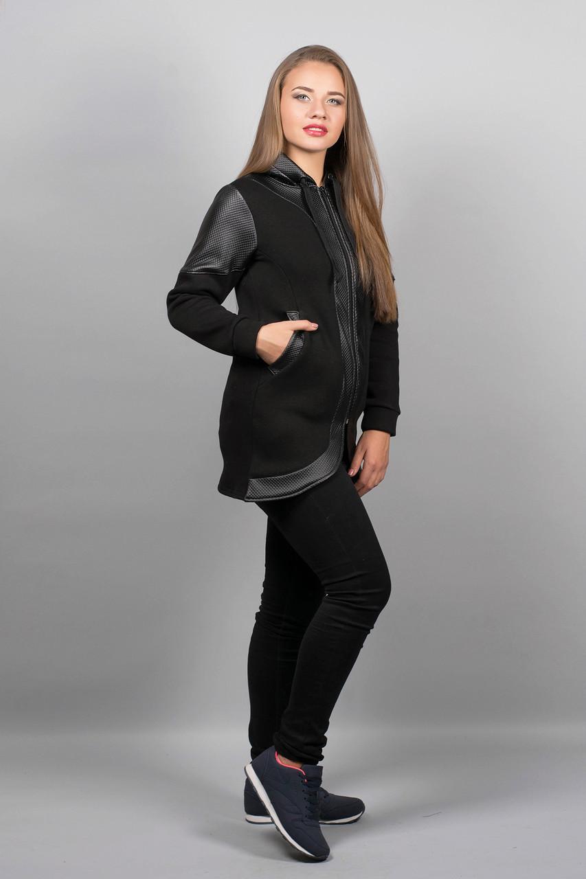 Толстовка СКАРЛЕТ(черный), удлиненная, с кожными вставками, с капюшоном, фото 1