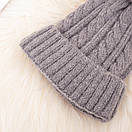 красива в'язана шапка з помпоном вязаная шапка, фото 4