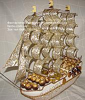 Именной белый корабль из конфет