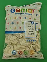 """Повітряна куля білий металік 10"""" (25 см) Gemar 100 шт (1 пач.)"""