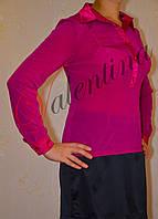 Блуза трикотажная с атласной отделкой