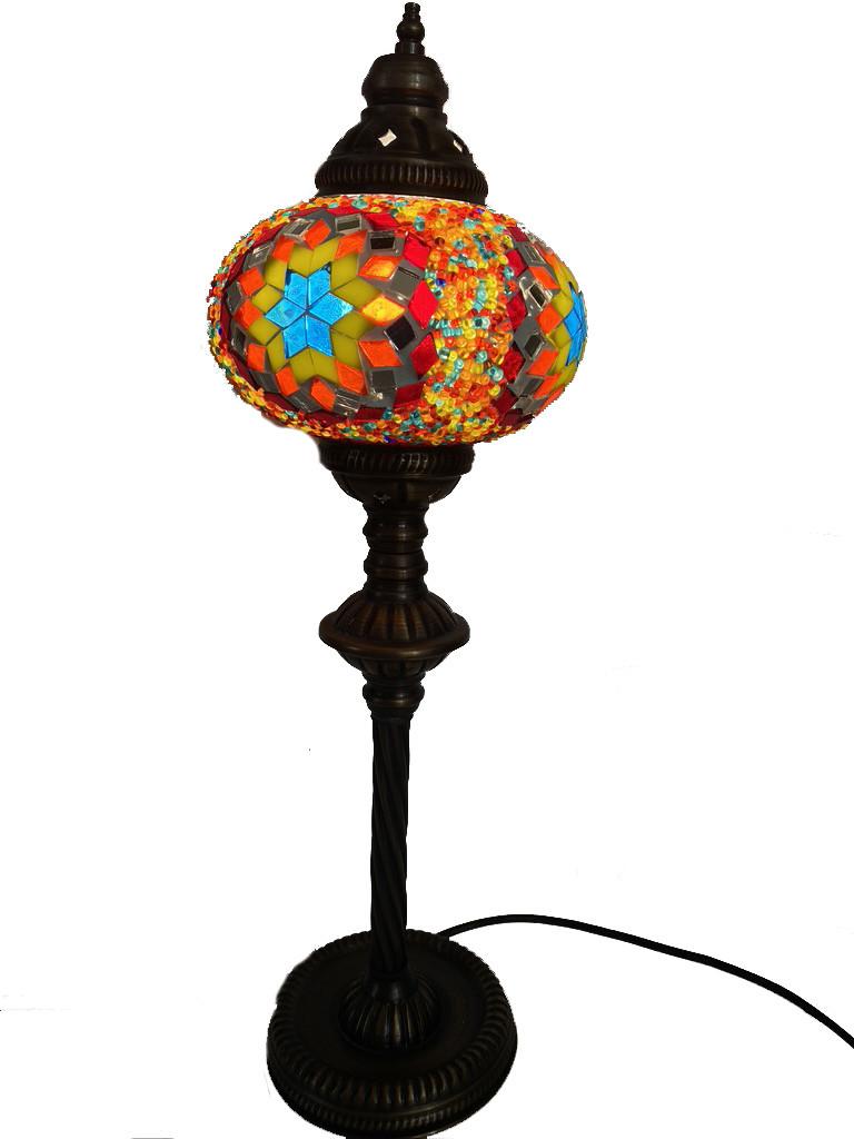 Настольный высокий турецкий светильник Sinan из мозаики ручной работы цветной 3