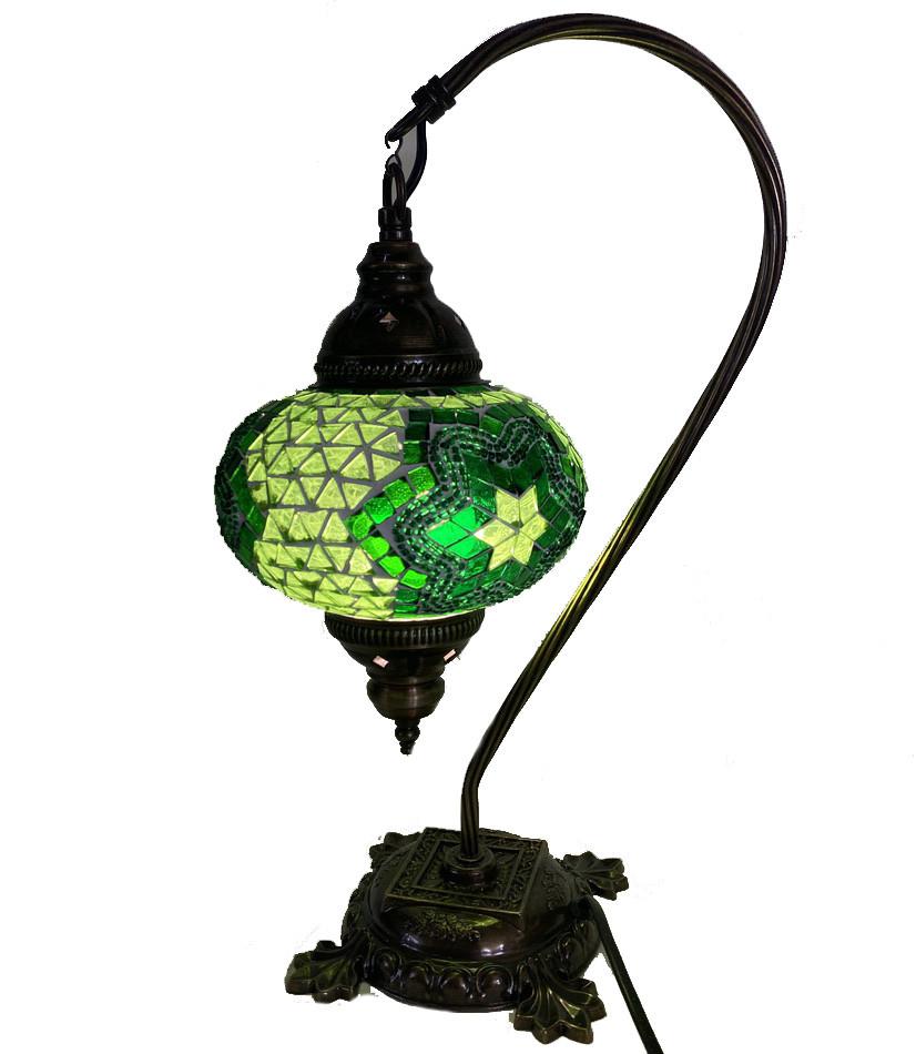 Настольный изогнутый турецкий светильник кэмэл  Sinan из мозаики ручной работы Зеленый 2