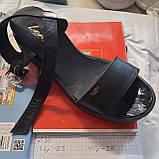40 р. Жіночі босоніжки, шкіряні сандалі на танкетці Чорний Остання пара, фото 6
