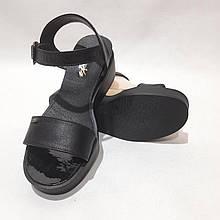 40 р. Жіночі босоніжки, шкіряні сандалі на танкетці Чорний Остання пара