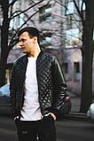 Чоловіча шкіряна куртка-бомбер чорна, фото 3
