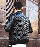Мужская кожаная куртка бомбер черная, фото 4