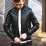Мужская кожаная куртка бомбер черная, фото 5