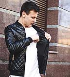 Мужская кожаная куртка бомбер черная, фото 6