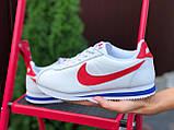 Жіночі кросівки Nike Cortez біло червоні, сині, фото 3