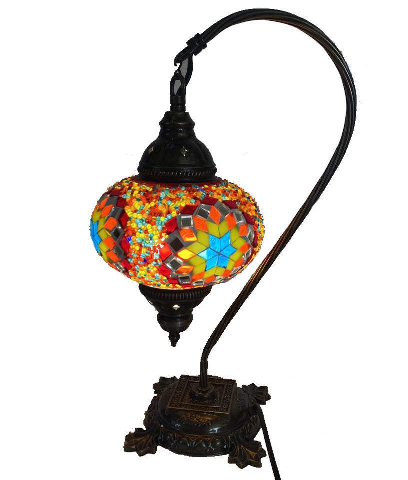 Настольный изогнутый турецкий светильник кэмэл  Sinan из мозаики ручной работы цветной 2