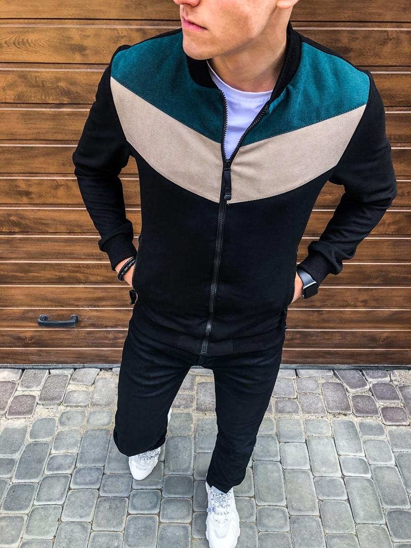 Мужская куртка бомбер Pobedov Bomber  (чорна /бірюза-бежева вставка)