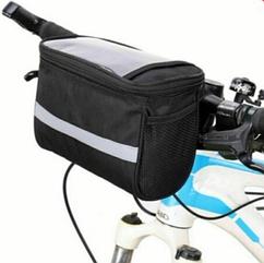 Велосумка-табло на руль / нарульная с отделением для телефона / навигатора / планшета ЧЁРНЫЙ