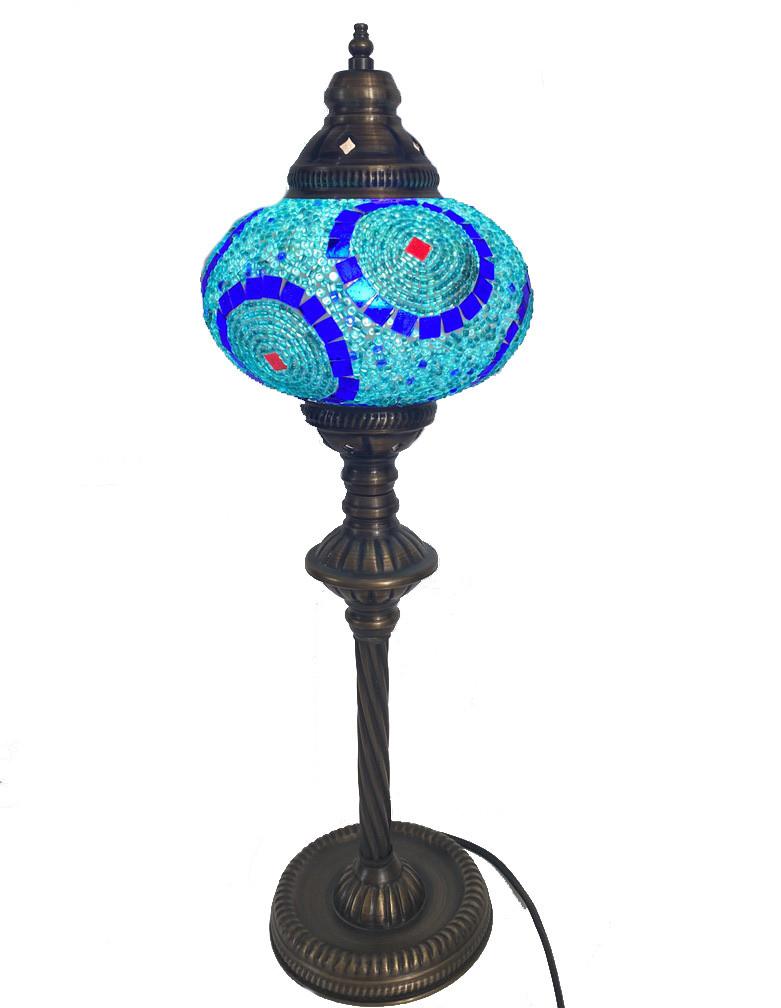 Настольный высокий турецкий светильник Sinan из мозаики ручной работы голубой  6