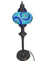Настільний високий турецький світильник Sinan з мозаїки ручної роботи блакитний 6, фото 1