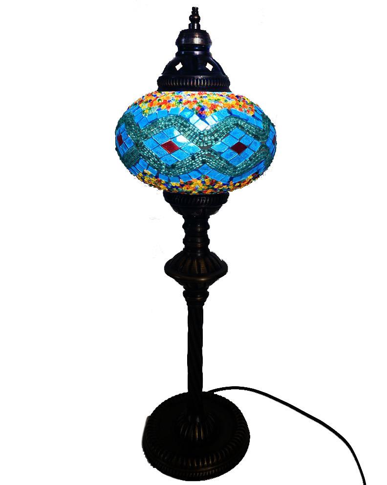 Настольный высокий турецкий светильник Sinan из мозаики ручной работы цветной  9