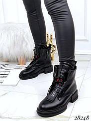 Ботинки зимние классика на шнуровке. Спереди декоративная вставка с молнией 36 размеры