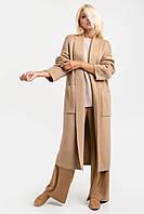 Вязаное пальто-кардиган песочное