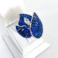 Кільце з срібла 925 My Jewels з синіми фіанітами (розм.17.5 мм), фото 1