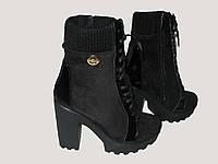 Зимние ботинки шнурок на толстом каблуке