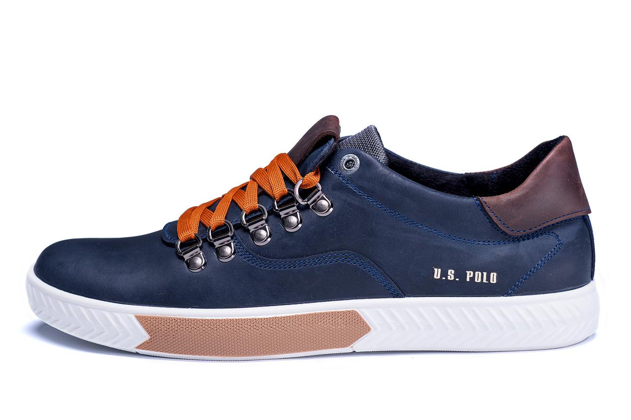 Мужские кожаные кеды Polo Ralph Lauren Blue
