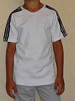 Футболка для мальчика белая с лампасами, фото 1