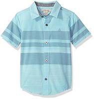 Calvin Klein Boys' Хлопковая рубашка для мальчика голубая в полоску 7 лет рост 122
