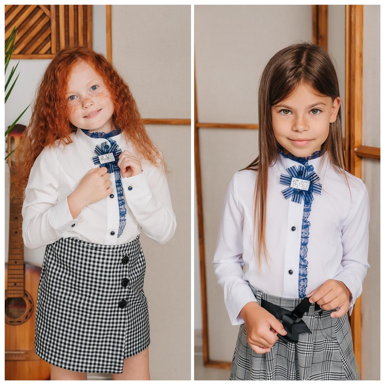 Белая школьная блузка для девочки (2044)