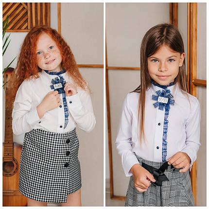 Белая школьная блузка для девочки (2044), фото 2