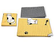 """Полуторный комплект (Бязь)   Постельное белье от производителя """"Королева Ночи""""   Коты на желтом, фото 3"""