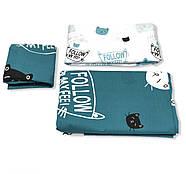 """Евро комплект (Ранфорс)   Постельное белье от производителя """"Королева Ночи""""   Коты на бирюзовом, фото 3"""