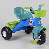 Детский трехколесный велосипед Pilsan  07-169 ГОЛУБОЙ С САЛАТОВЫМ, пластиковые колеса с прорезиненой