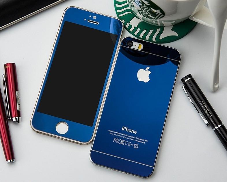 Зеркальное защитное стекло для iPhone 5 5S SE двухстороннее