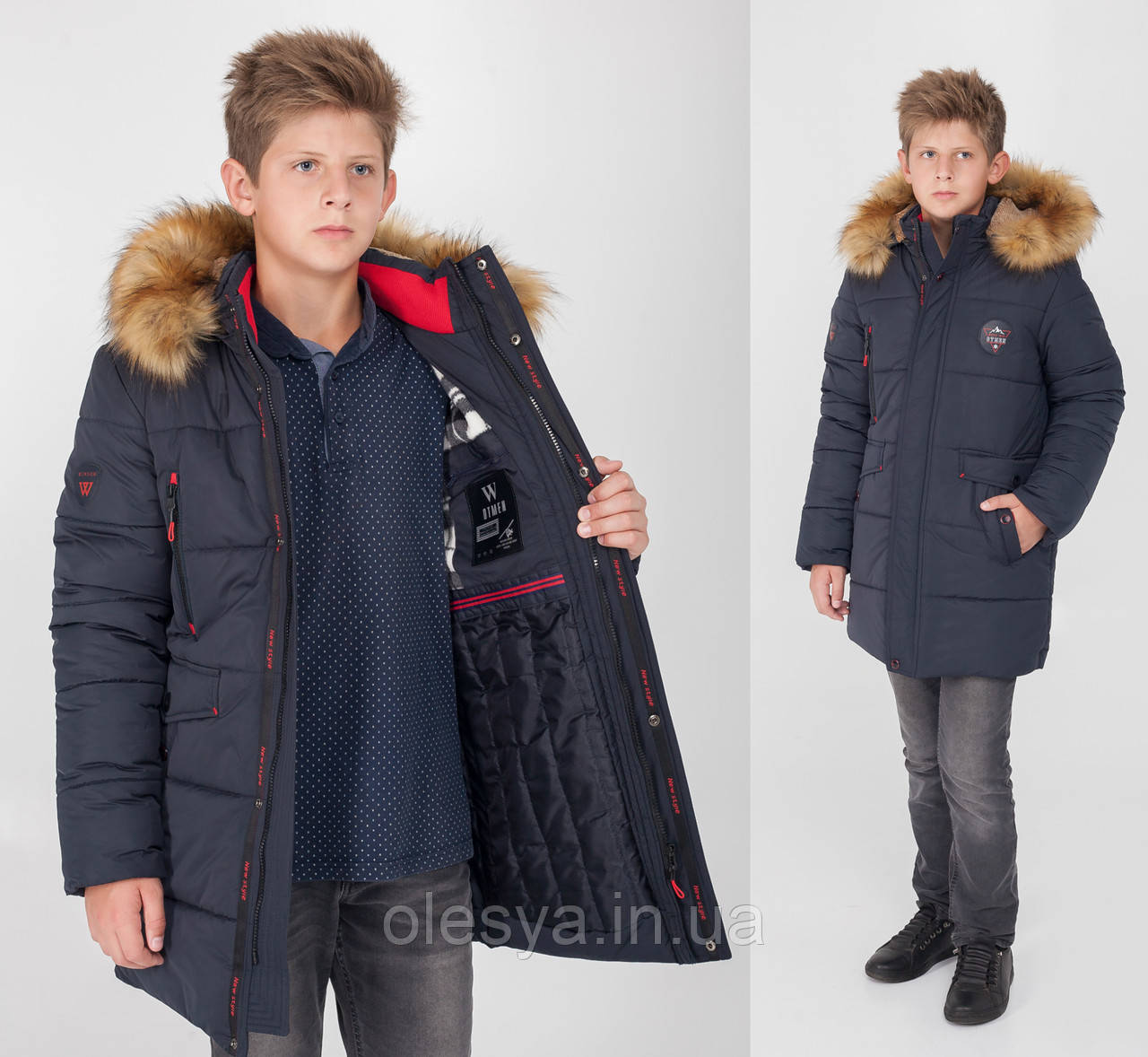 Куртка зимняя Полупальто Парка на мальчика подростка Размеры 128- 164