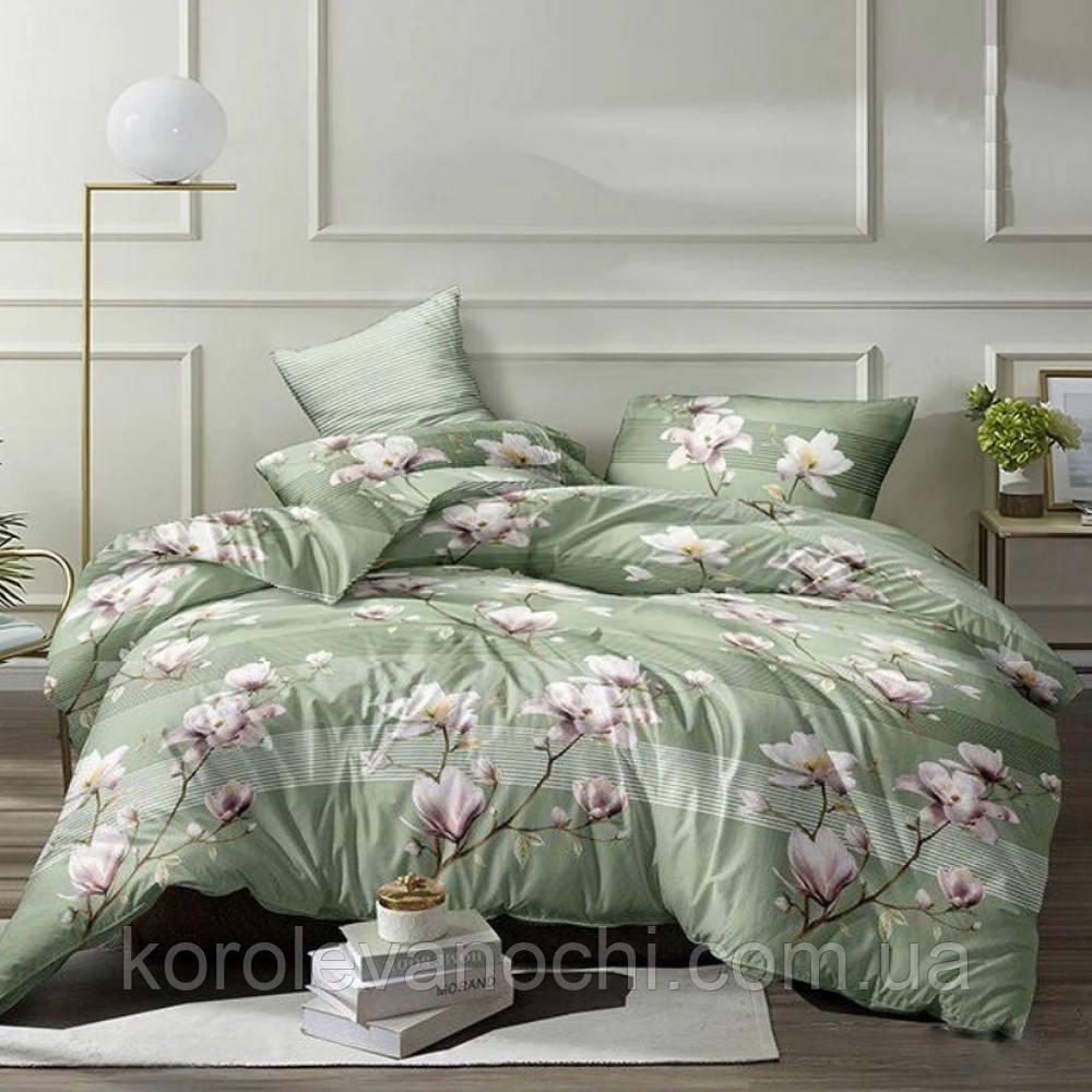 """Двоспальний комплект (Бязь)   Постільна білизна від виробника """"Королева Ночі""""   Квіти на зеленому"""
