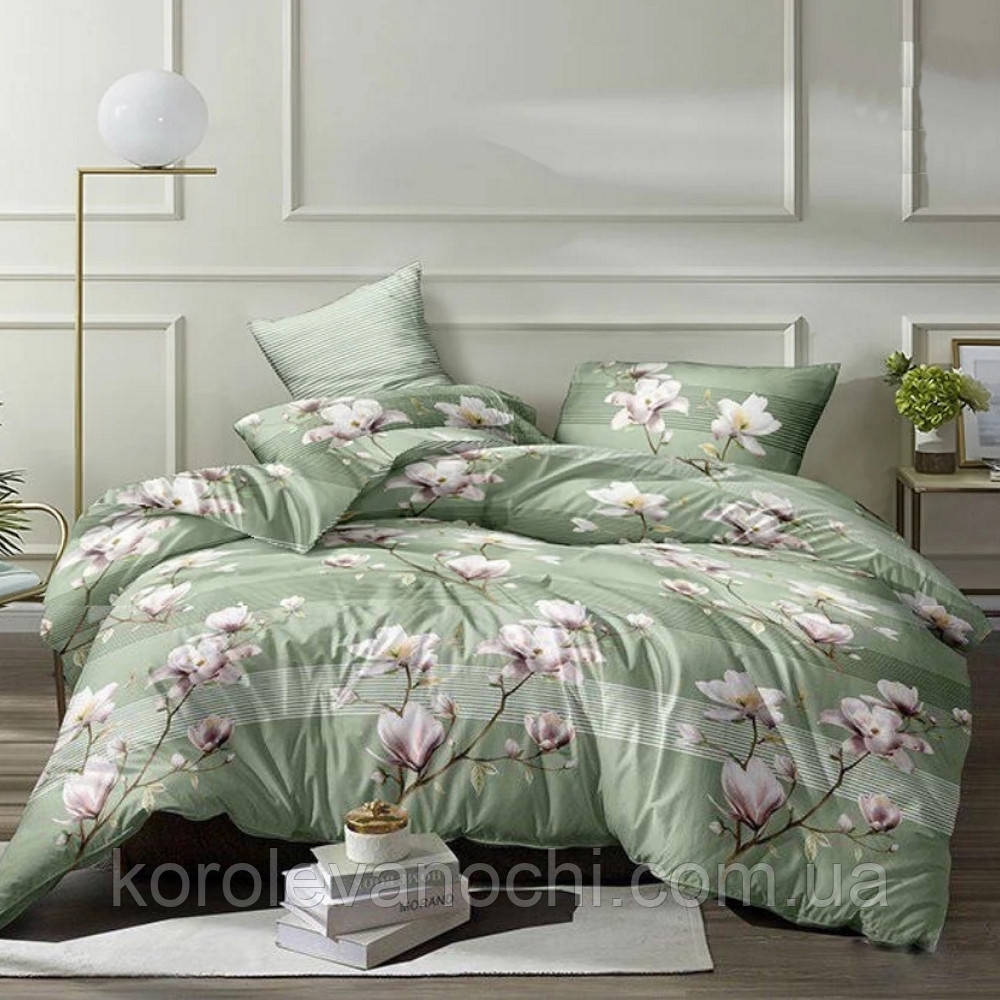 """Евро комплект (Бязь) постельного белья """"Королева Ночи""""   Постельное белье от производителя   Цветы на зелёном"""