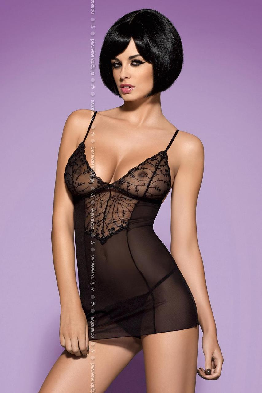 Эротический комплект Obsessive Finesia chemise - черный