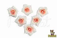 Роза с персиковыми серединками из фоамирана, диаметр 3 см 10 шт/уп