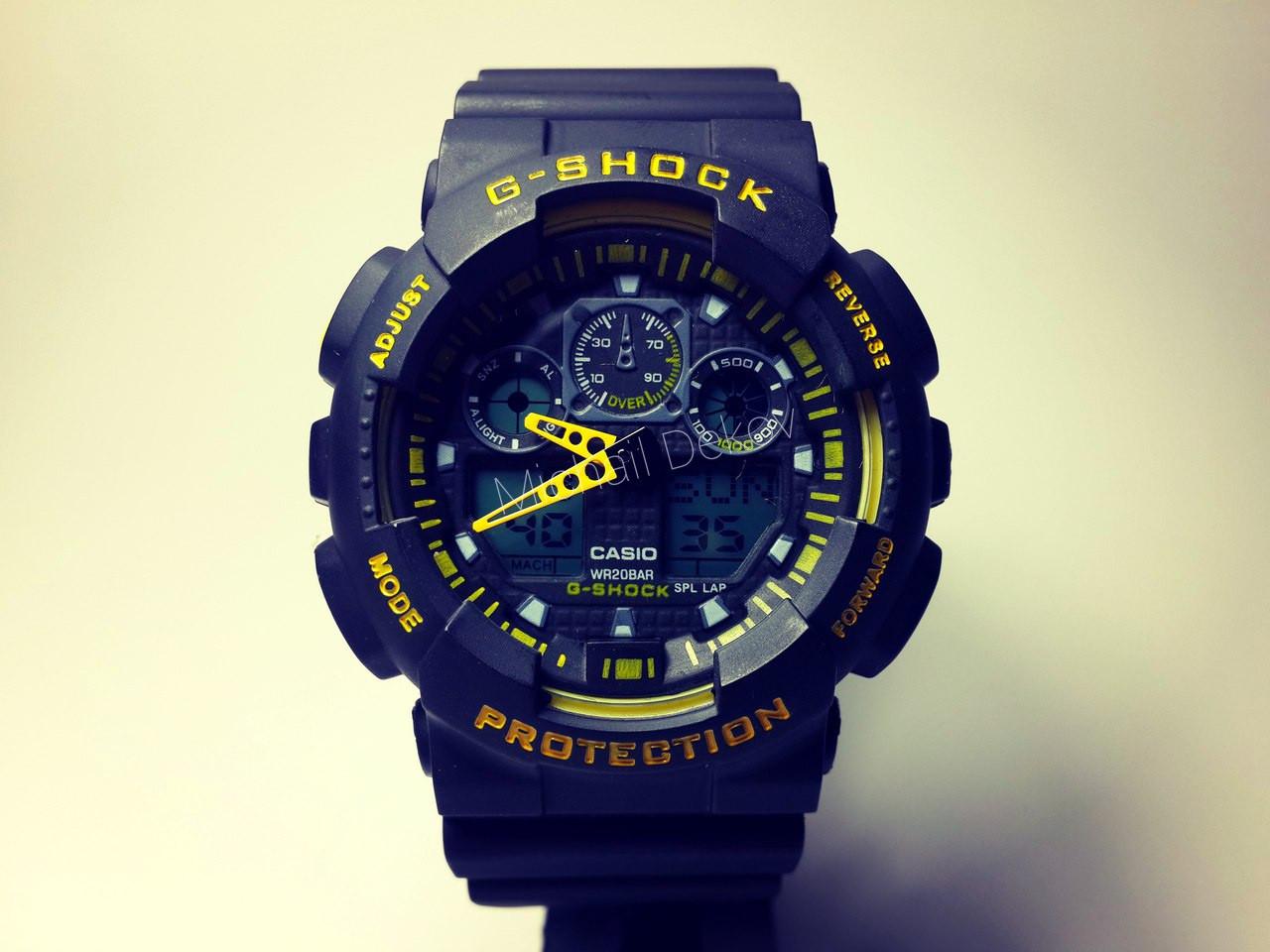 ЧАСЫ CASIO G-SHOCK GA-100   Black–Yellow -реплика