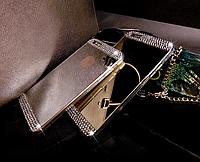 Зеркальный серебряный силиконовый чехол со стразами для Iphone 4/4S, фото 1