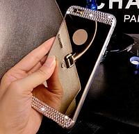 Зеркальный золотой силиконовый чехол с стразами для iphone 6 6S, фото 1