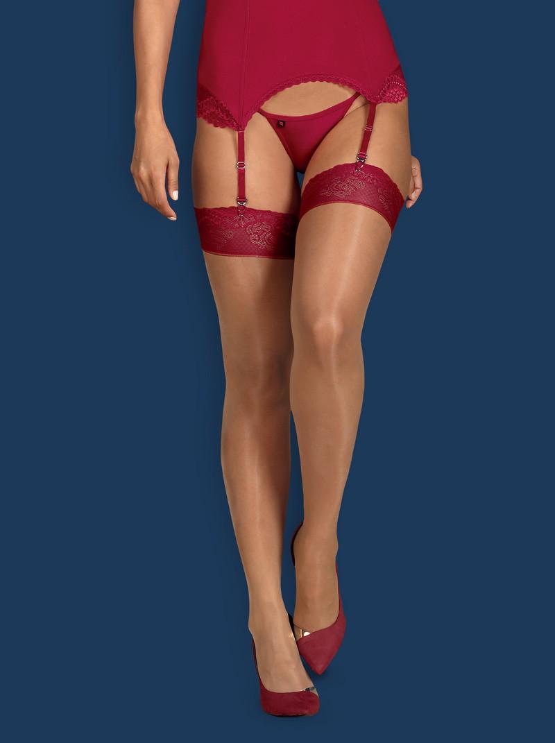 Эротические чулки Obsessive Rosalyne stockings - бежевый