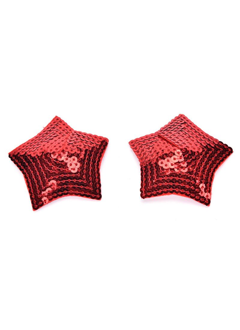 Наклейки для груди Sunspice звездочка с пайетками - красный
