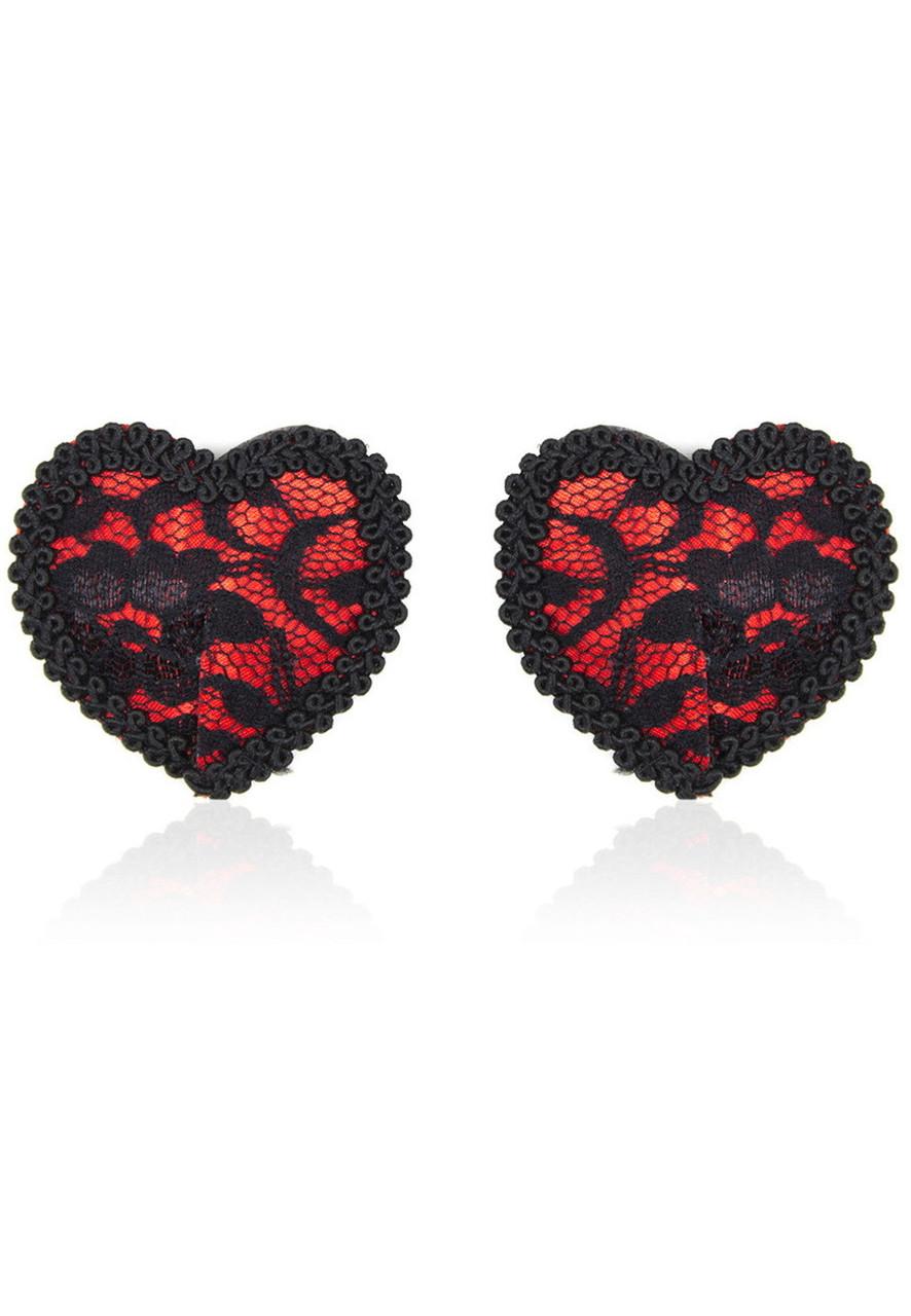 Наклейки для груди Sunspice кружевное сердце - черно-красный
