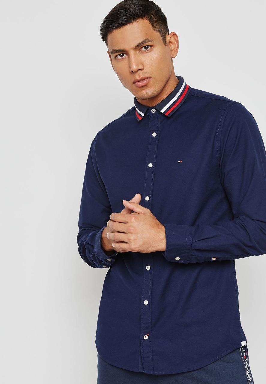Рубашка мужская TOMMY HILFIGER цвет темно-синий размер S арт MW0MW06054 903